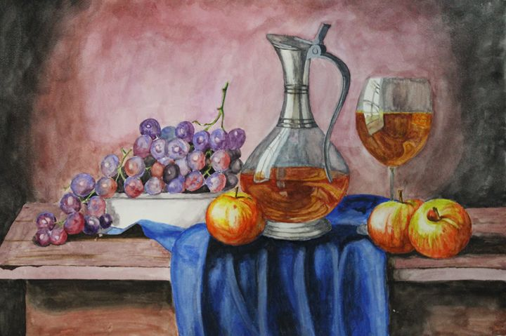 The wine life - The painting - Fatima's Artwork