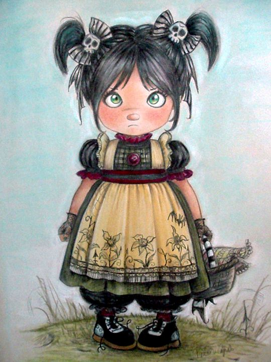 Gothic girl and funny bows - Gothic Sweet Art by Pilar  Agrelo