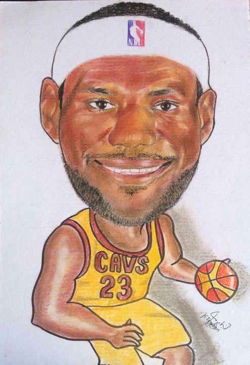 Lebron James Caricature - Kimi Beri Art