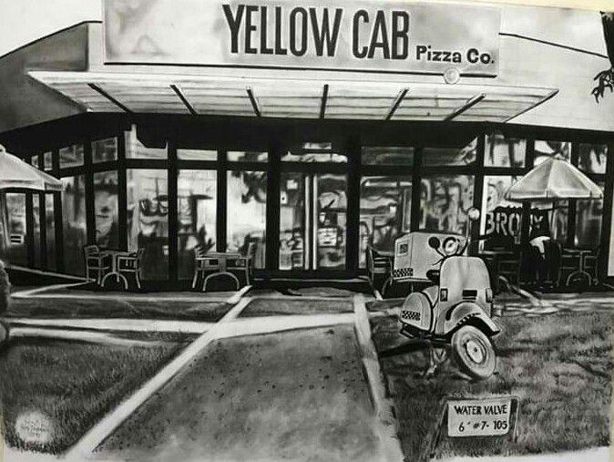 Yellow Cab Pizza - Kimi Beri Art
