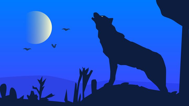 Howling Wolf Silhouette - Milestone Media