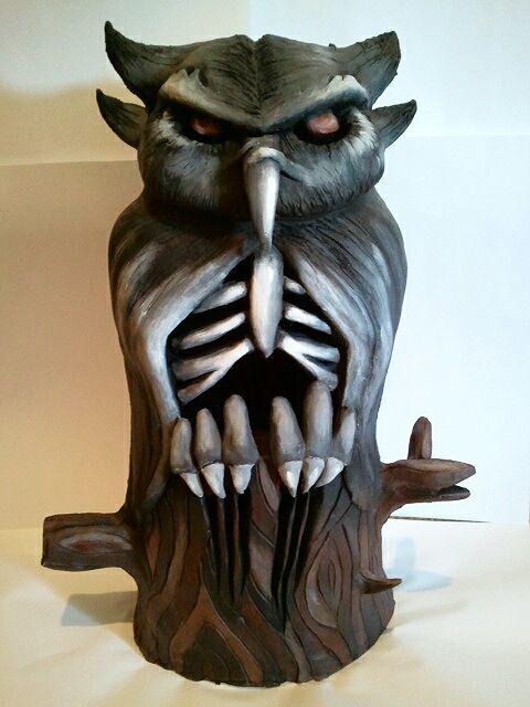 Halloween Inspired Owl Sculpture - Diverse Handmade Art Pieces