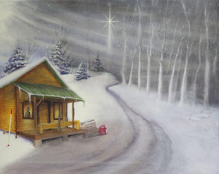 Winter Off Grid Cabin - marcia's art