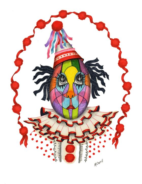 Stained Glass Clown - marcia's art