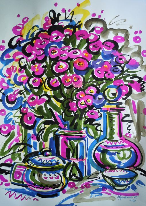 Raspberry tea - Zhuravlova Nataliia & Watercolor