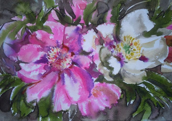 Peonies - Zhuravlova Nataliia & Watercolor