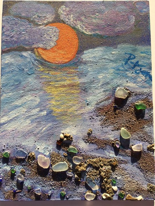 Moonlit Cloudy Beach - Beach Glass Treasures