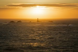 Longships Lighthouse at sunset
