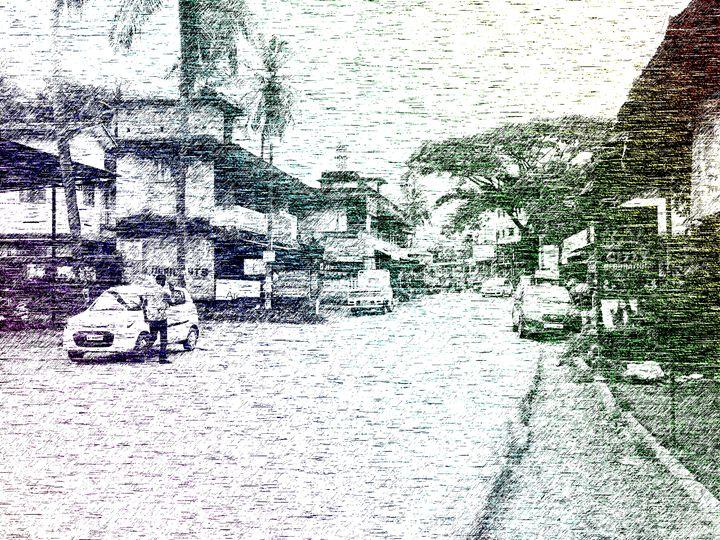 Old market nostalgia line art - Rivershore