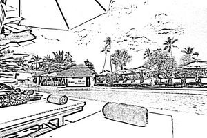 Seaside beach line drawing art