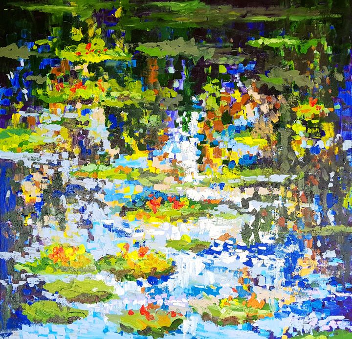 Waterlilies in Monets garden serie 2 - wimvandewege paintings