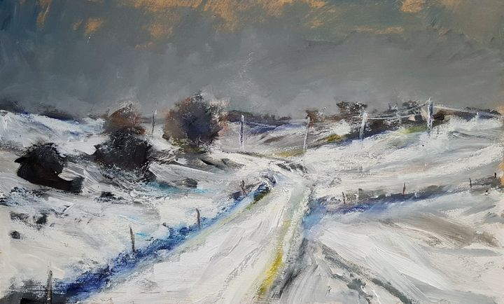 Snowy landscape Yorkshire in oil - wimvandewege paintings