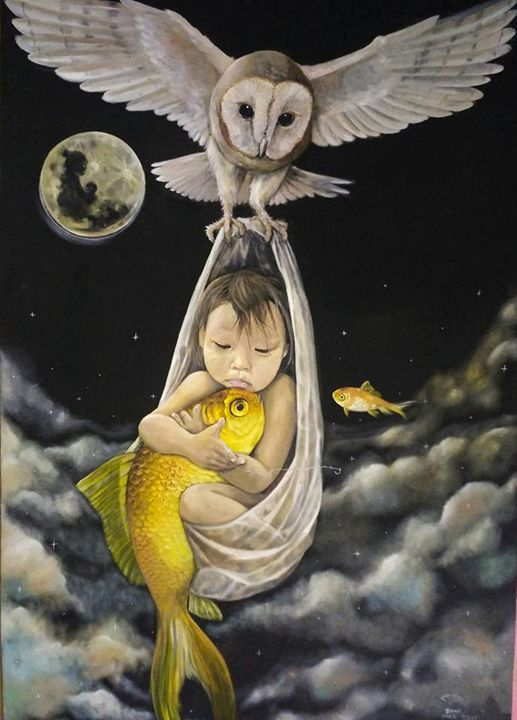 Baby carrying fish during full moon - Xtra3e Art