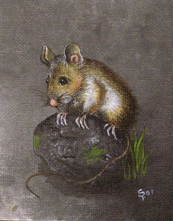 Mouse on a Mossy Stone - Pia's Contemporary Art Collection