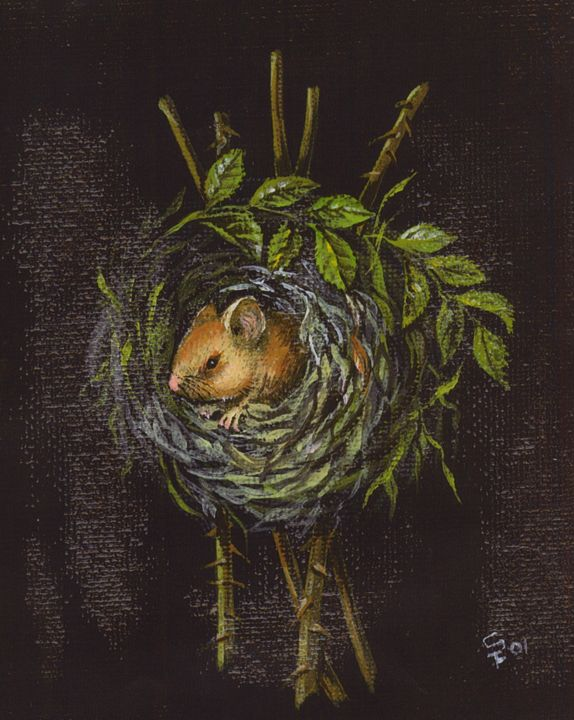 Mouse in Thorny Nest - Pia's Contemporary Art Collection