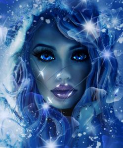 Beautiful girl with an icy look.