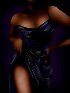 The torso of a woman in a silk dress