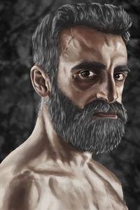 Portrait of a brutal man.