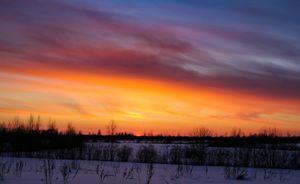 Crimson winter sunset.