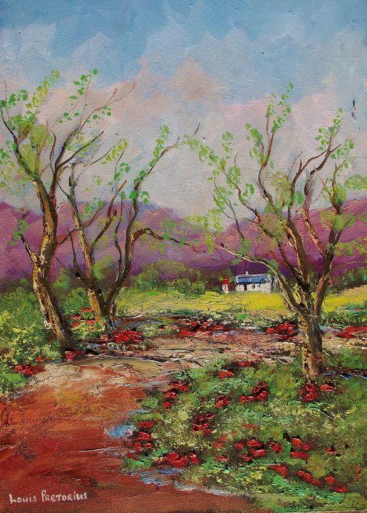 Red Fower Trees - Louis Pretorius art