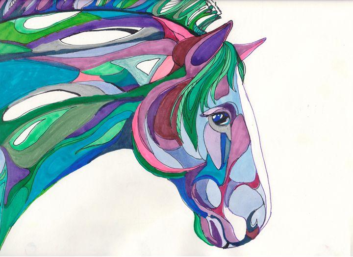 Purple and Green Horse - Eilee Fahnestock Art