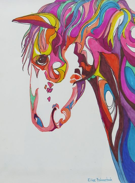 Pink and Turquoise Pony - Eilee Fahnestock Art