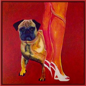 Chien, laisse et jambes - Painting pets by V.MaYaN