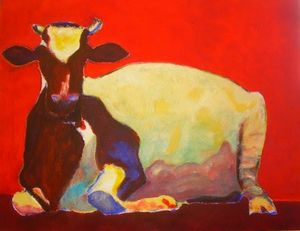 La grande vache rouge - Painting pets by V.MaYaN