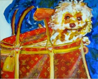 Dog in Louis Vuitton's bag - Painting pets by V.MaYaN