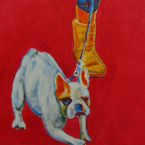 Chien laisse et jambe - Painting pets by V.MaYaN