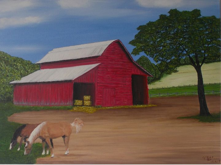 Red Barn and Horses - Gregory Shinn