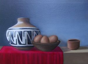 Pot on red cloth