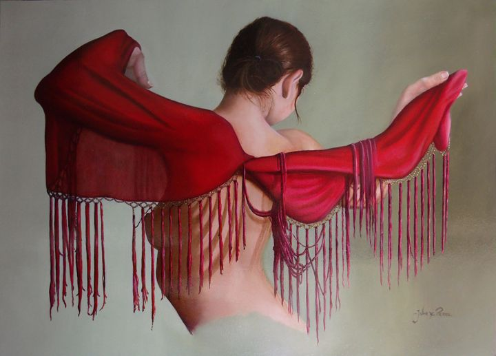 Little fringed red blanket - J.VandePerre