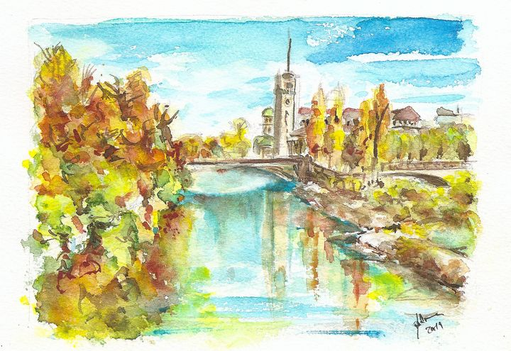 Munich - River Isar - J V G - Art