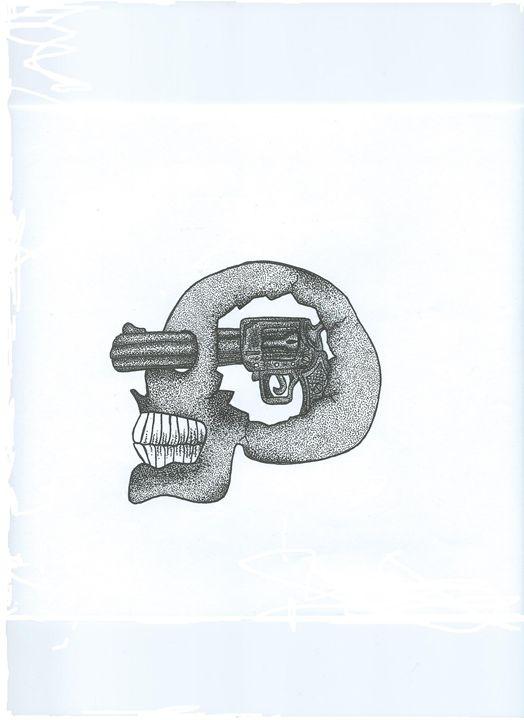 Dot work tattoo style skull - Emma Dixon Art