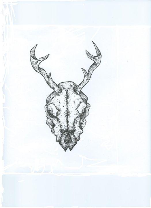 Dotwork deer animal skull - Emma Dixon Art