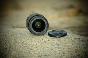 Camera lense on rock