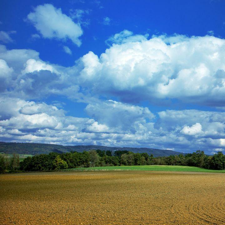 Beautiful farm with blue sky - Creative Photography