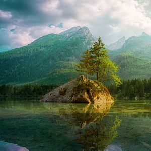 photography of lake and mountains
