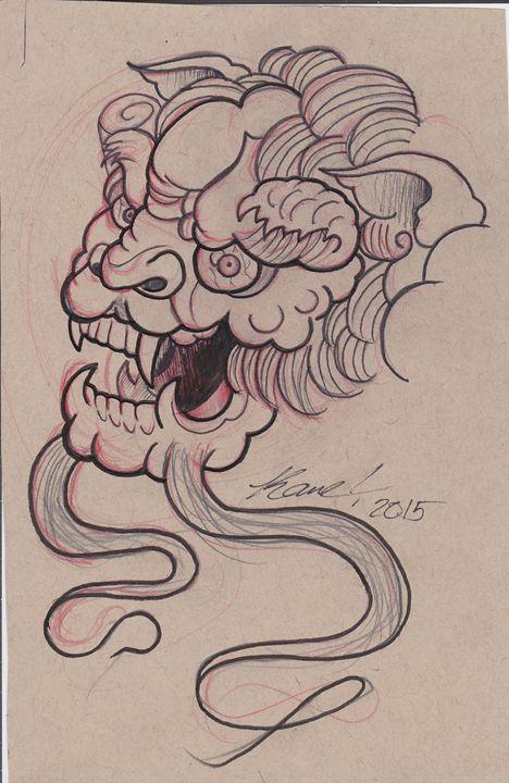 Foo Dog Head Sketch - Kane Broadus