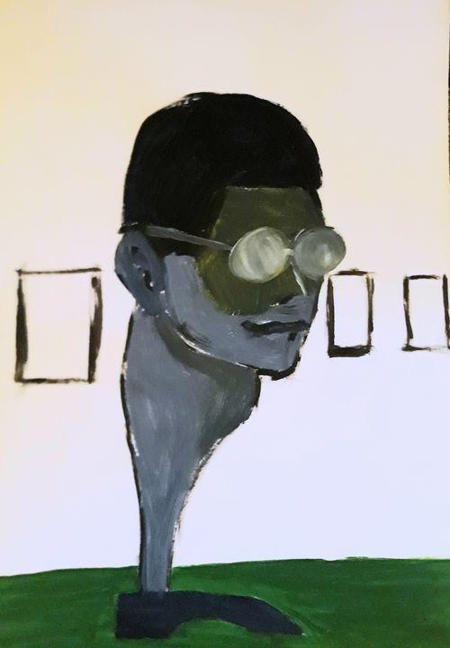 Man in art gallery - Andzejs paintings
