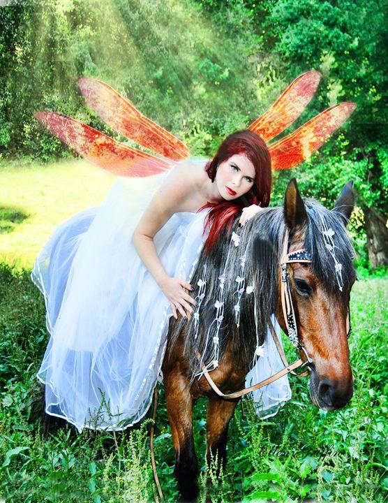 Woodland Fairy on horseback - Ellen Griffin Fantasy Art