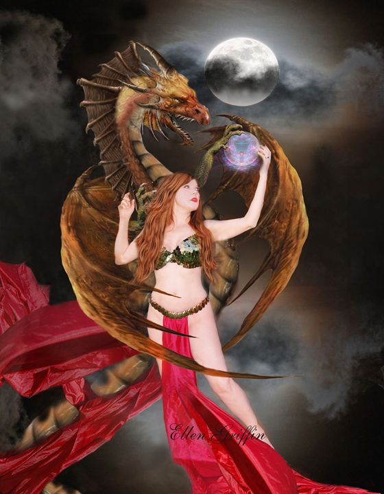 Red Haired Dragon Queen - Ellen Griffin Fantasy Art