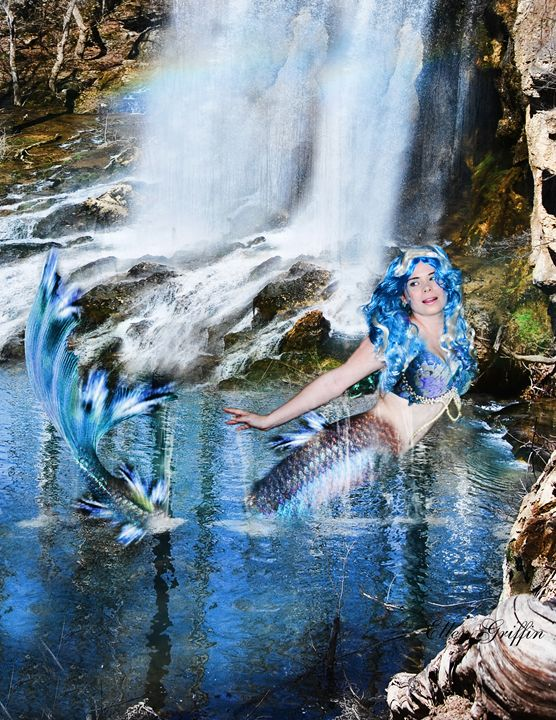 Blue Mermaid - Ellen Griffin Fantasy Art