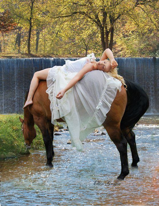 Sleeping Beauty on Horseback - Ellen Griffin Fantasy Art