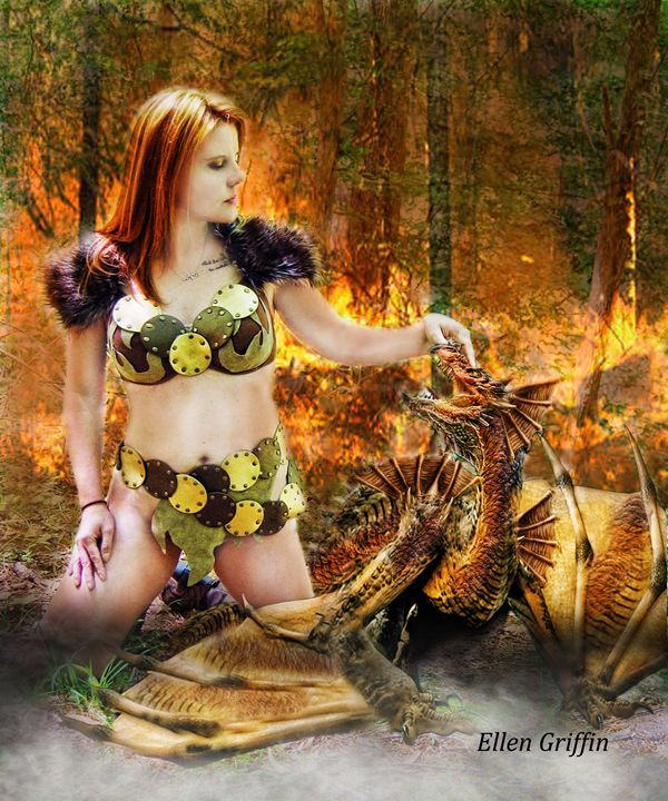 Baby Fire Dragon - Ellen Griffin Fantasy Art