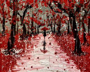 Path through Rain on Cherry Blossoms