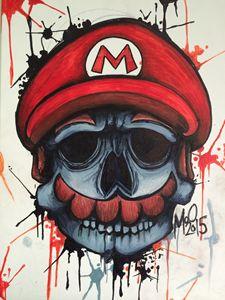 Mario Skull ink splat