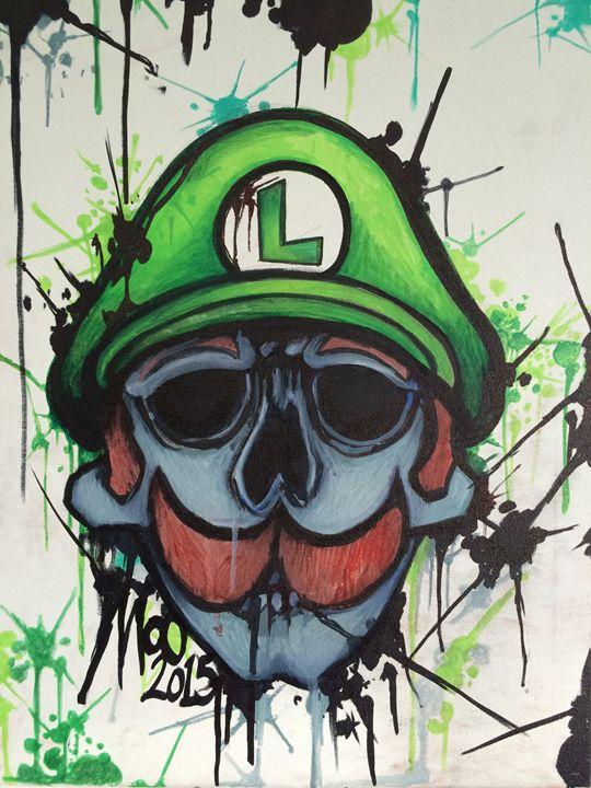 Luigi skull ink splat - MoO