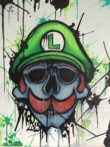 Luigi skull ink splat